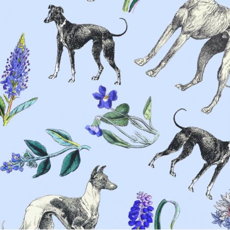 Tkanina 20202   Psy Charty i niebieskie kwiatki na niebieskim