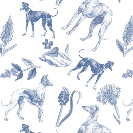 Fabric 20203 | Psy Charty i polne kwiatki GranatowE na białym tle