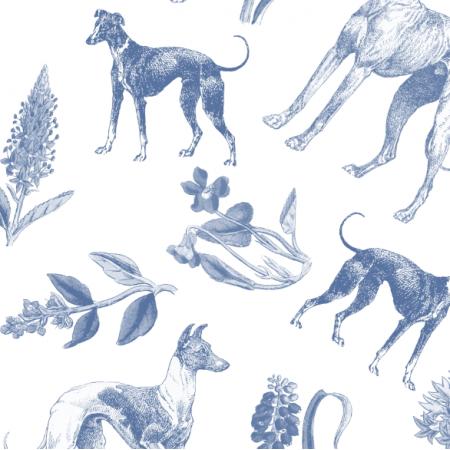 Tkanina 20204 | Psy Charty i polne kwiatki Granatowe na Białym