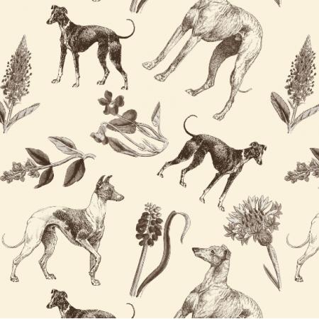 Fabric 20205 | Psy Charty i polne kwiatki Sepia na kremowym tle