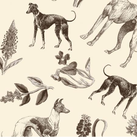 Fabric 20206 | Psy Charty i polne kwiatki Sepia na kremowym