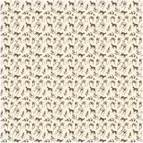 Tkanina 20206 | Psy Charty i polne kwiatki Sepia na kremowym