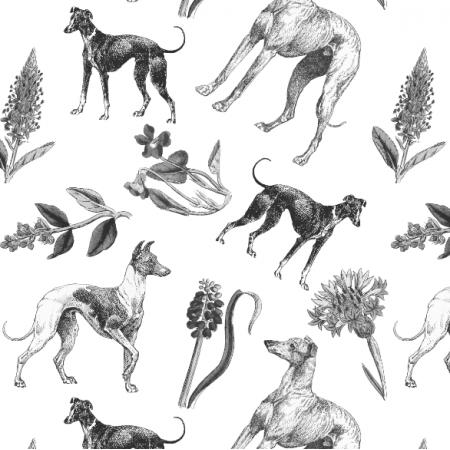 Fabric 20207 | Psy Charty i Polne kwiatki Czarno Białe