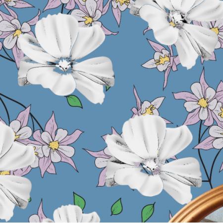 20211 | PSy Charty i kwiaty Motyw na poduszkę / Apaszkę 50cm
