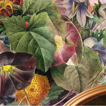20214 | Śpiący piesek i kwiaty Poduszka / apaszka 50cm