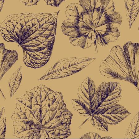 Fabric 20233 | LIŚCIE  Na orzechowym