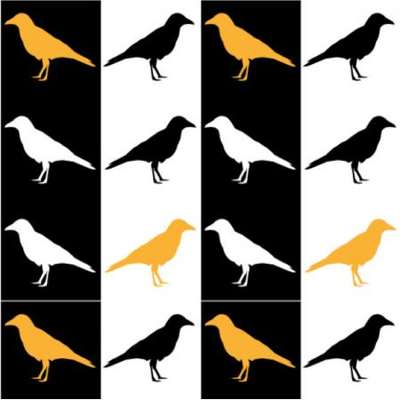 Fabric 20263 | Czarno-białe wrony0