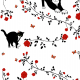 Fabric 20272 | Cats and red roses