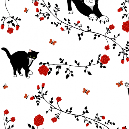 20272 | Cats and red roses