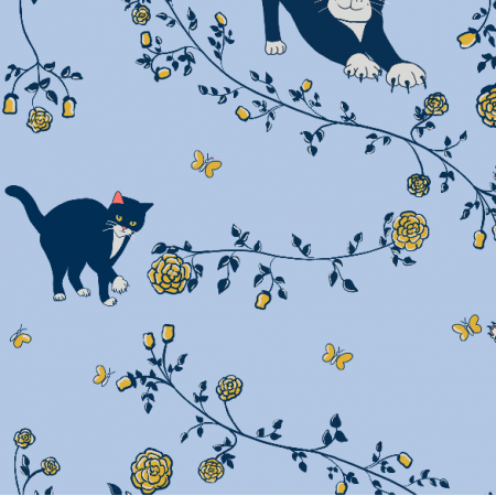 20274 | cats and roses light blue