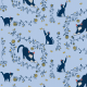 Fabric 20275   cats and gold roses (light blue) 2
