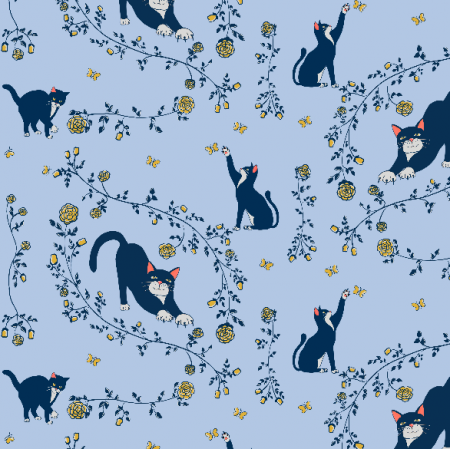 Fabric 20275 | cats and gold roses (light blue) 2