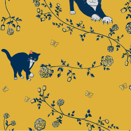 Fabric 20276 | cats and roses (yellow)