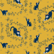 Fabric 20277   cats and roses (yellow) 2