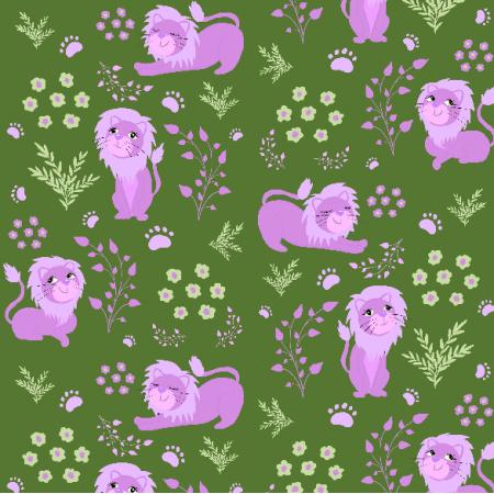 Fabric 20281 | I am a lion (green) 2