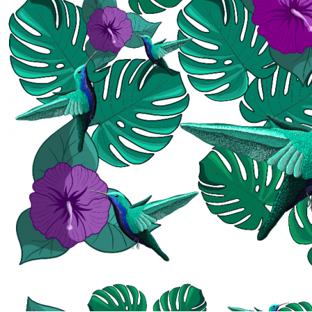 Fabric 20285 | koliberki (śnieżnobiałe tło)