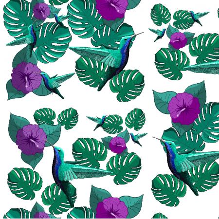 Fabric 20286 | Koliberki (śnieżnobiałe tło)2