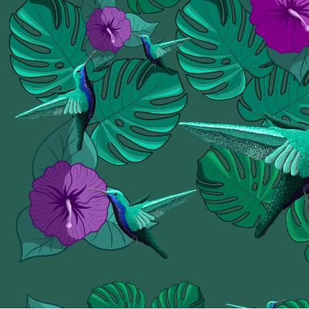 Fabric 20288 | Koliberki (zielone)