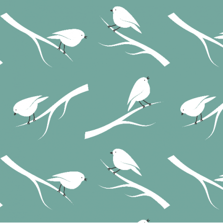 Fabric 20298 | Birds on teal