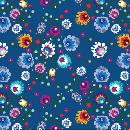Tkanina 20456 | Folk  classic blue small